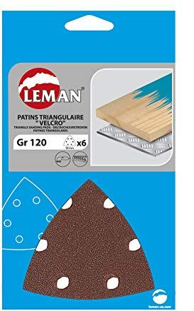 Leman, 094094.06.03, 6 fogli abrasivi corindone, triangolari, 6 fori Klett set, colorato, 94 x 94 millimetri, P120, gewink