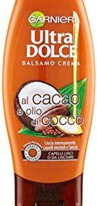 Garnier Ultra Dolce al Cacao e Olio di Cocco Balsamo per Capelli Lisci o da Lisciare, 200 ml