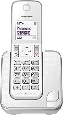 Panasonic KX-TGD310JTS Telefono Cordless Digitale Singolo, LCD Monocromatico Bianco, Schermo e Tasti Retroilluminati, Suoneria P