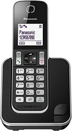 Panasonic KX-TGD310JTB Telefono Cordless Digitale Singolo, LCD Monocromatico Bianco, Schermo e Tasti Retroilluminati, Suoneria P