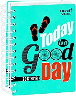 Quo Vadis atteggiamento positivo eurotex Agenda Giornaliera Spirale 12 x 17 cm Blu anno 2017 - 2018