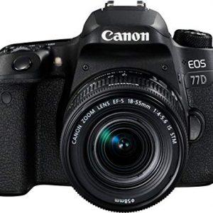 Canon SLR EOS 77D Fotocamera Digitale, Obiettivo EF-S 18-55 mm f-4-5.6 IS STM, Nero