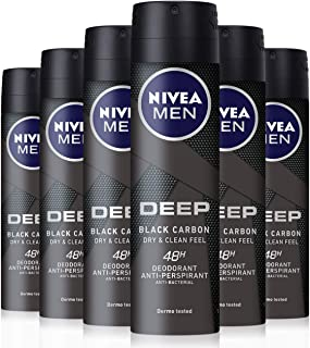 Nivea Men Deep Deodorante Spray da Uomo, Dry & Clean Feel, 150 ml, Confezione da 6 Pezzi