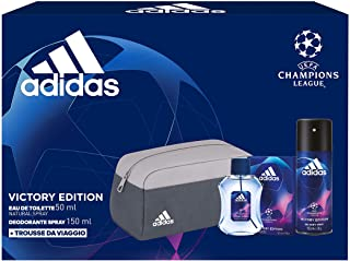 Adidas, Confezione Regalo Uomo UEFA Champions League Victory Edition, Eau de Toilette 50 ml, Deodorante Spray 150 ml, Trousse da