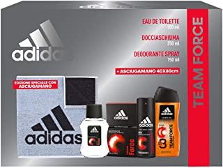 Adidas Confezione Regalo Uomo Team Force, Eau de Toilette 100 ml, Gel Doccia Bagnoschiuma 250 ml, Deodorante Spray 150 ml, Asciu