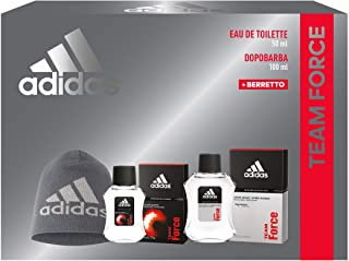 Adidas, Confezione Regalo Uomo Team Force, Eau de Toilette 50 ml, Dopobarba 100 ml, Berretto di Lana