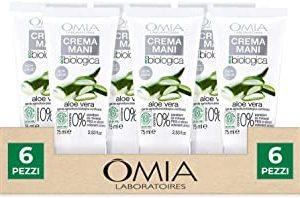 Omia, Crema Mani Ecobio Aloe Vera, Crema Nutriente e Protettiva Per Mani Secche e Delicate - 6 Confezioni da 75 ml