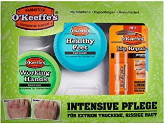 O'Keeffe's - Set regalo con 1 crema per le mani Working Hands, 1 crema per i piedi Healthy Feet, 1 balsamo per le labbra non pro