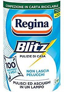 Regina Blitz Carta Casa | Confezione da 1 rotolo | 100 maxi fogli 3 veli | Confezione in carta riciclabile | Pulisci e asciughi