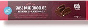 Marchio Amazon - Happy Belly Cioccolato fondente svizzero con torrone al miele ed alle mandorle 100g x 15