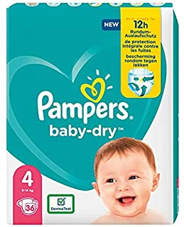Pampers Baby-Dry Size Protezione 4 A 12 Ore Per 9-14Kg - 940 Gr
