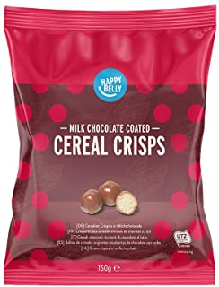 Marchio Amazon - Happy Belly Cereali croccanti ricoperti di cioccolato al latte 150g x 6