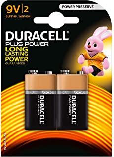 Duracell DUR9VK2P - Batteria a batteria da 9 V, confezione da 2 pezzi, MN1604-6LR6