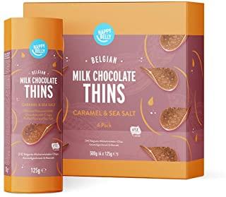 Marchio Amazon - Happy Belly Chips di cioccolato al latte belga - Caramello e sale marino,4x125g
