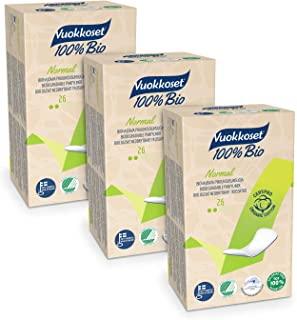 Vuokkoset 100% Bio - Salvaslip Maxi Cotone Bio, Biodegradabile, Cotone Organico - 3x26 pezzi Multipack