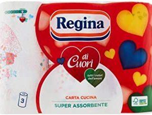 Regina - Carta, 3 veli, Super Assorbenza - 2 confezioni da 3 rotoli [6 rotoli]