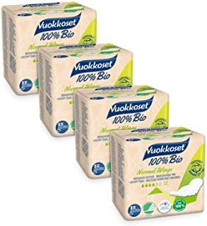 Vuokkoset Assorbenti 100% Cotone biologico, Assorbenti Cotone con ali, Biodegradabile, Cotone Organico - 4x12 pezzi