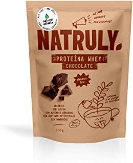 Proteine Whey Cioccolato NATRULY 71% di Proteine del Siero del Latte Pastorizzato Senza Zucchero, 100% Naturale, Senza Glutine a