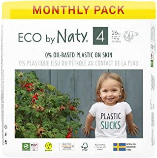 Eco by Naty, Taglia 4, 156 pannolini, 7-18kg, fornitura di UN MESE, Pannolino eco premium a base vegetale con lo 0% di plastica