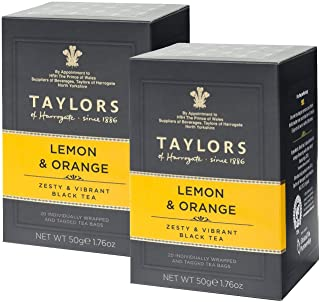 2 x 20 Individually Wrapped and Tagged Tea Bags Taylors Lemon & Orange