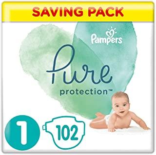 Pampers - Pacco da 102 pesi Pure Protection, misura 1, 2-5 kg