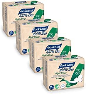 Vuokkoset 100% Assorbenti Cotone Biologico Notte con Ali, Biodegradabile, Cotone Organico - 4x9 pezzi Multipack