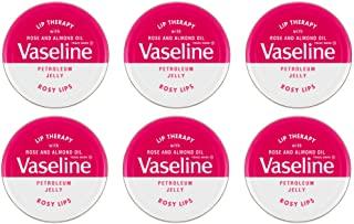 Vaseline Lip Therapy, Petroleum Jelly, Rosy Lips, terapia per labbra alla vaselina con rosa e olio di mandorla, 6 lattine da 20g