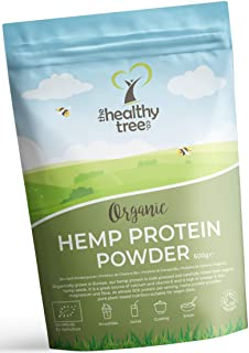 Proteine in Polvere di Canapa Bio di TheHealthyTree Company - Raccolta in Europa - Vegan, Alto Contenuto di Omega-3, Ferro, Ammi