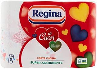 Regina di Cuori Carta Cucina | Confezione da 6 Rotoli | 50 fogli per rotolo* | Grande Assorbenza, Spessa e Resistente | Carta 10