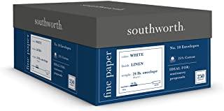 25% Cotton nr.10 Envelope, White, 24 lbs., Linen, 250-Box, FSC, Sold as 1 Box