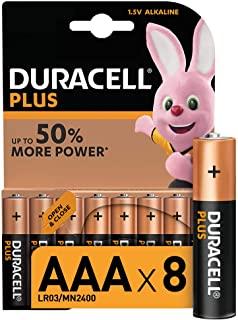 Duracell LR03 MN2400 Plus AAA - Batterie Ministilo Alcaline, Confezione da 8 Pacco del Produttore, 1.5 V, 8 Batterie