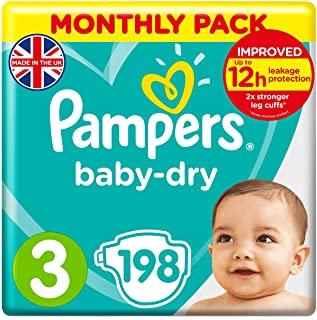 Pampers Baby-Dry, Pannolini, Taglia 3 (6- 10kg) , Confezione da 198 pezzi