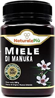 Miele di Manuka 500+ MGO 500 gr. Prodotto in Nuova Zelanda, Attivo e Grezzo, Puro e Naturale al 100%. Metilgliossale Testato da