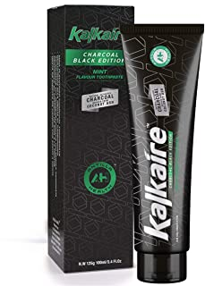 Kalkaire UK - Dentifricio Carbone Attivo Sbiancante - Menta Dentifricio Nero - Carbon Sbiancante Dei Denti Pulizia Intensiva per