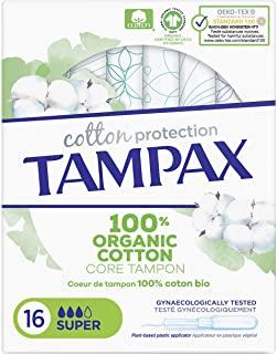 Tampax Cotton Protection Super con applicatore X 16, cuore di timbro, in cotone biologico