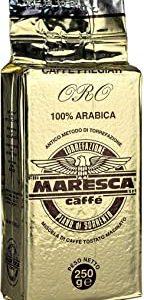 Caffe Maresca: il gusto della differenza. Miscela oro 100%arabica, macinato per la moka. 4 confezioni da 250 gr sottovuoto