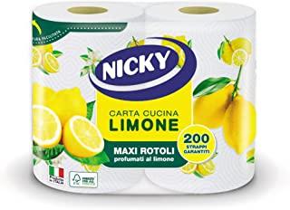 Nicky Limone Carta Cucina | Confezione da 2 Rotoli a 2 veli | 100 fogli per rotolo | Grande Assorbenza, Spesso e Resistente | Pr