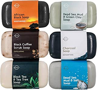 Confezione Lussuosa Dei Top 6 Saponi Neri 100% Naturali Vegan con Oli Essenziali Terapeutici Cura Brufoli Ripara la Pelle Idrata