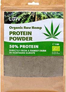 LOOV Polvere proteica di canapa biologica, 1 kg, 50% proteine, tutti i nutrienti preservati, delizioso sapore di nocciola, colti